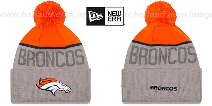 Broncos '2015 STADIUM' Grey-Orange Knit Beanie Hat by New Era : pictured without stickers that these products are shipped with