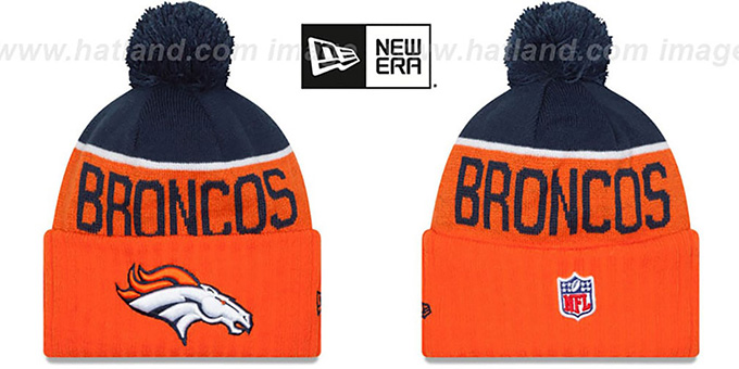 Broncos '2015 STADIUM' Orange-Navy Knit Beanie Hat by New Era : pictured without stickers that these products are shipped with