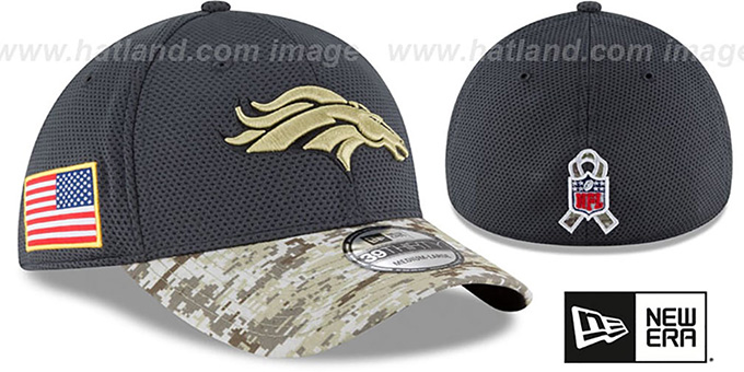 Broncos '2016 SALUTE-TO-SERVICE FLEX' Grey-Desert Hat by New Era : pictured without stickers that these products are shipped with