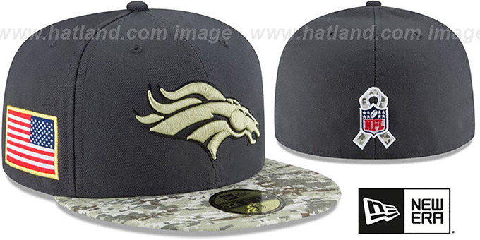 Broncos '2016 SALUTE-TO-SERVICE' Grey-Desert Fitted Hat by New Era : pictured without stickers that these products are shipped with