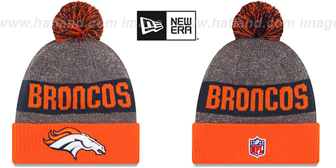 Broncos '2016 STADIUM' Orange-Navy-Grey Knit Beanie Hat by New Era : pictured without stickers that these products are shipped with