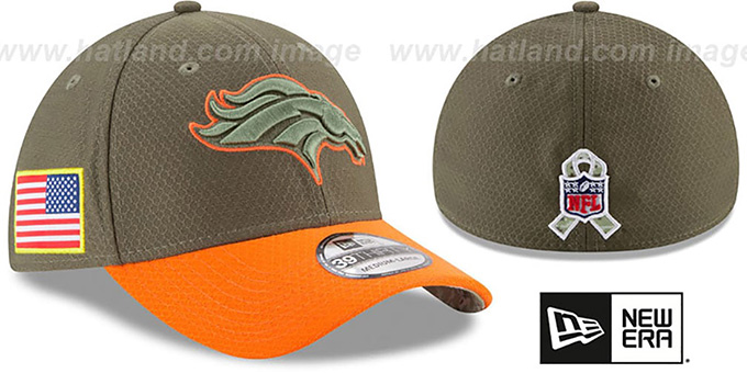 Broncos '2017 SALUTE-TO-SERVICE FLEX' Green-Orange Hat by New Era : pictured without stickers that these products are shipped with
