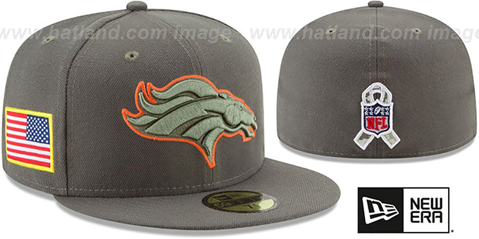 Broncos '2017 SALUTE-TO-SERVICE' Green Fitted Hat by New Era : pictured without stickers that these products are shipped with