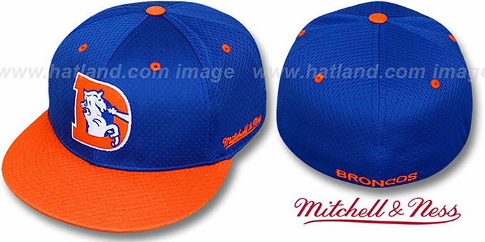 Broncos '2T BP-MESH' Royal-Orange Fitted Hat by Mitchell & Ness : pictured without stickers that these products are shipped with