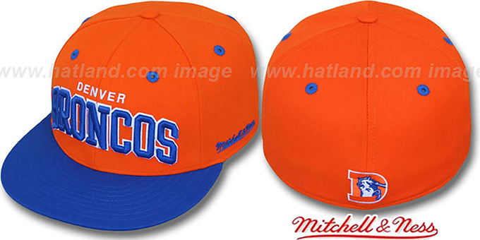 Broncos '2T CLASSIC-ARCH' Orange-Royal Fitted Hat by Mitchell & Ness : pictured without stickers that these products are shipped with