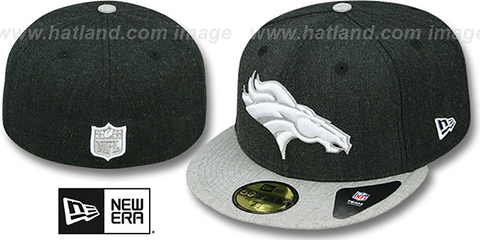 Broncos '2T-HEATHER ACTION' Charcoal-Grey Fitted Hat by New Era : pictured without stickers that these products are shipped with