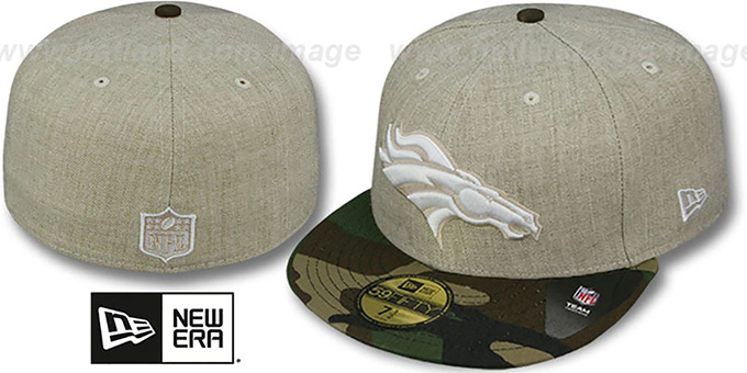 Broncos '2T-HEATHER' Oatmeal-Army Fitted Hat by New Era : pictured without stickers that these products are shipped with