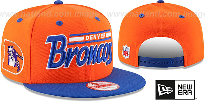 Broncos '2T RETRO-SCRIPT SNAPBACK' Orange-Royal Hat by New Era : pictured without stickers that these products are shipped with