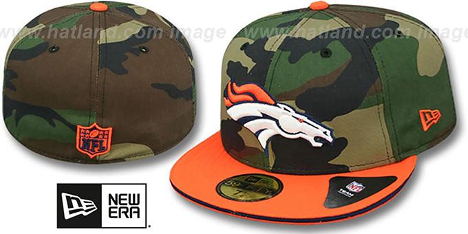 Broncos '2T SPLIT NFL TEAM-BASIC' Army-Orange Fitted Hat by New Era : pictured without stickers that these products are shipped with