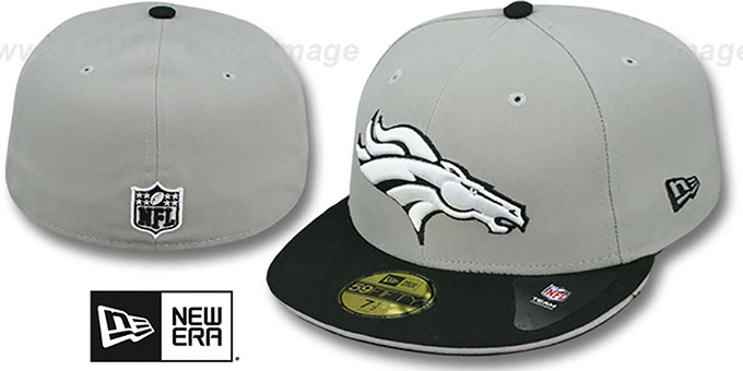 Broncos '2T SPLIT NFL TEAM-BASIC' Grey-Black Fitted Hat by New Era : pictured without stickers that these products are shipped with