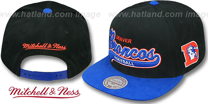Broncos '2T TAILSWEEPER SNAPBACK' Black-Royal Hat by Mitchell & Ness : pictured without stickers that these products are shipped with