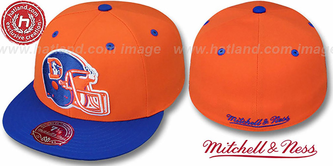 Broncos '2T XL-HELMET' Orange-Royal Fitted Hat by Mitchell & Ness : pictured without stickers that these products are shipped with