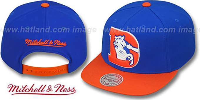 Broncos '2T XL-LOGO SNAPBACK 2' Royal-Orange Adjustable Hat by Mitchell & Ness : pictured without stickers that these products are shipped with