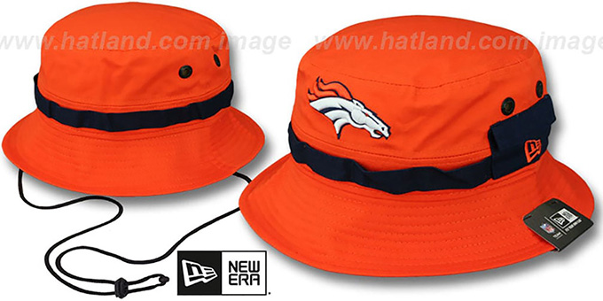 Broncos 'ADVENTURE' Orange Bucket Hat by New Era : pictured without stickers that these products are shipped with