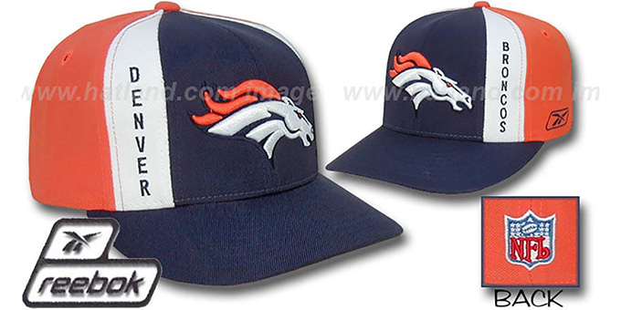 Broncos 'AJD PINWHEEL' Navy-Orange Fitted Hat by Reebok : pictured without stickers that these products are shipped with