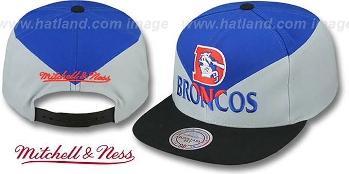 Broncos 'AMPLIFY DIAMOND SNAPBACK' Royal-Grey Hat by Mitchell and Ness : pictured without stickers that these products are shipped with