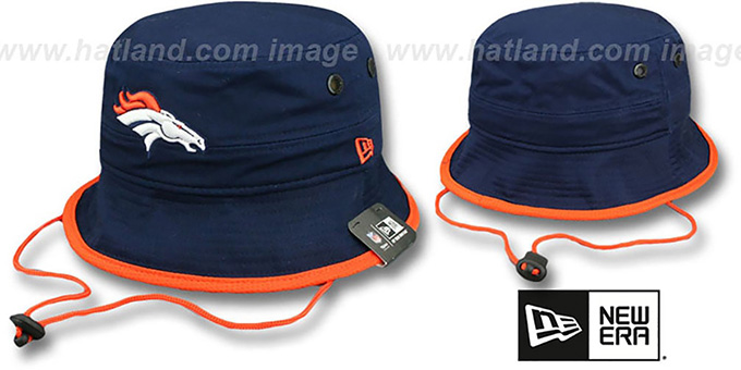 Broncos 'BASIC-ACTION' Navy Bucket Hat by New Era : pictured without stickers that these products are shipped with