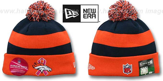 Broncos 'BCA CRUCIAL CATCH' Knit Beanie Hat by New Era : pictured without stickers that these products are shipped with