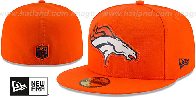 Broncos 'BEVEL' Orange Fitted Hat by New Era : pictured without stickers that these products are shipped with