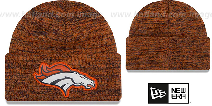 Broncos 'BEVEL' Orange-Navy Knit Beanie Hat by New Era : pictured without stickers that these products are shipped with