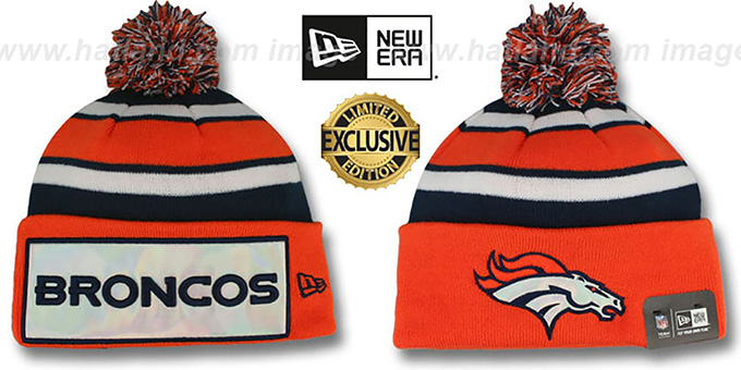 Broncos 'BIG-SCREEN' Knit Beanie Hat by New Era : pictured without stickers that these products are shipped with
