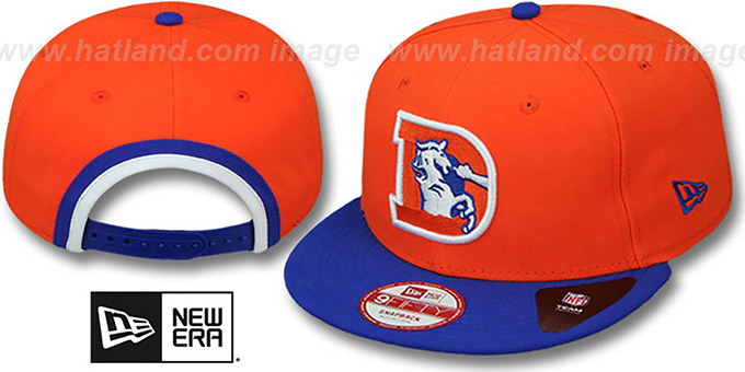 Broncos 'BINDBACK TB SNAPBACK' Orange-Royal Hat by New Era : pictured without stickers that these products are shipped with