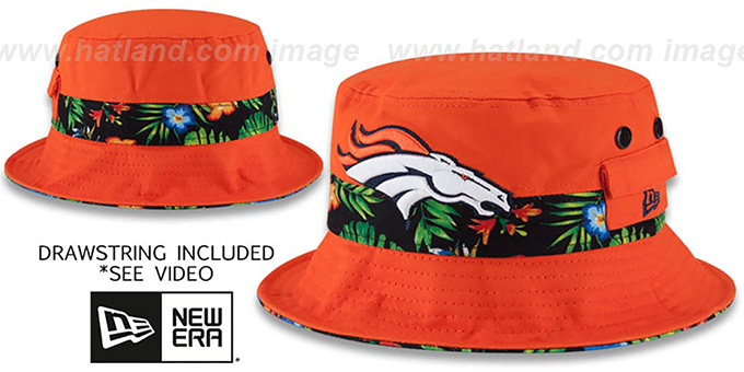 Broncos 'BLOOM SUB-BANDED' Orange Bucket Hat by New Era : pictured without stickers that these products are shipped with