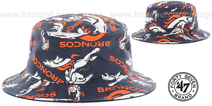 Broncos 'BRAVADO BUCKET' Hat by Twins 47 Brand : pictured without stickers that these products are shipped with