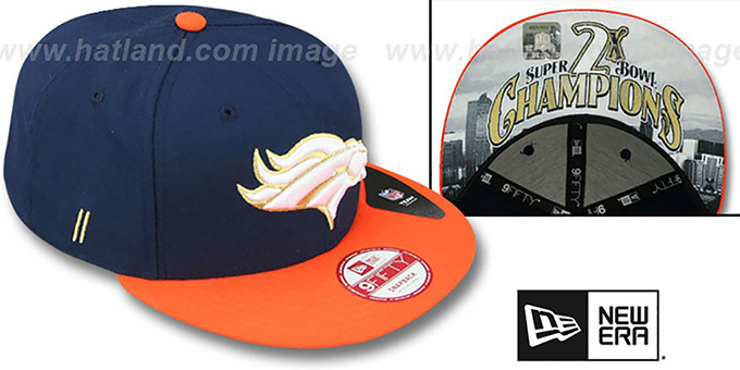 Broncos 'CHAMPS-HASH SNAPBACK' Navy-Orange Hat by New Era : pictured without stickers that these products are shipped with