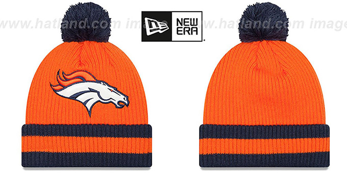 Broncos 'CHILLER FILLER BEANIE' Orange-Navy by New Era : pictured without stickers that these products are shipped with