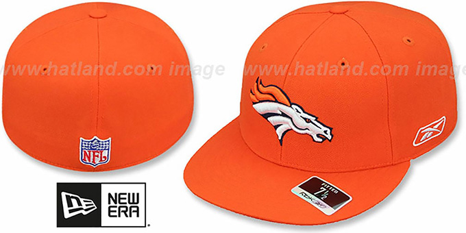 Broncos 'COACHES' Orange Fitted Hat by Reebok : pictured without stickers that these products are shipped with