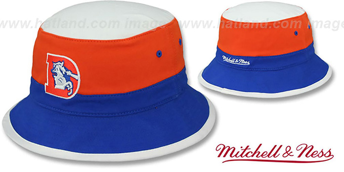 Broncos 'COLOR-BLOCK BUCKET' White-Orange-Royal Hat by Mitchell and Ness : pictured without stickers that these products are shipped with