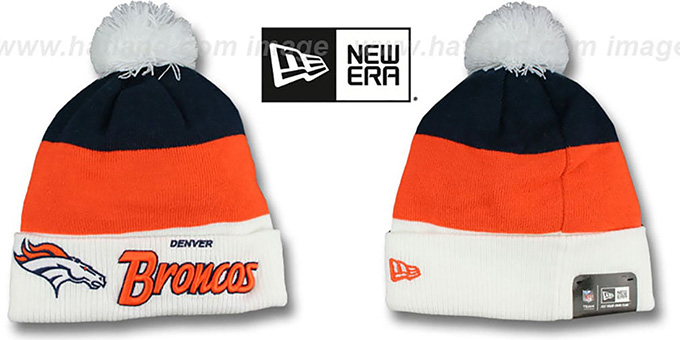 Broncos 'CUFF-SCRIPTER' White-Orange-Navy Knit Beanie Hat by New Era : pictured without stickers that these products are shipped with