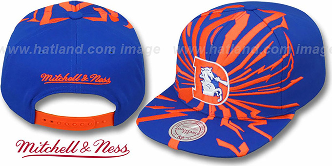Broncos 'EARTHQUAKE SNAPBACK' Royal Hat by Mitchell & Ness : pictured without stickers that these products are shipped with