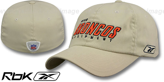 Broncos 'EQUIPMENT FLEX' Khaki Hat by Reebok : pictured without stickers that these products are shipped with
