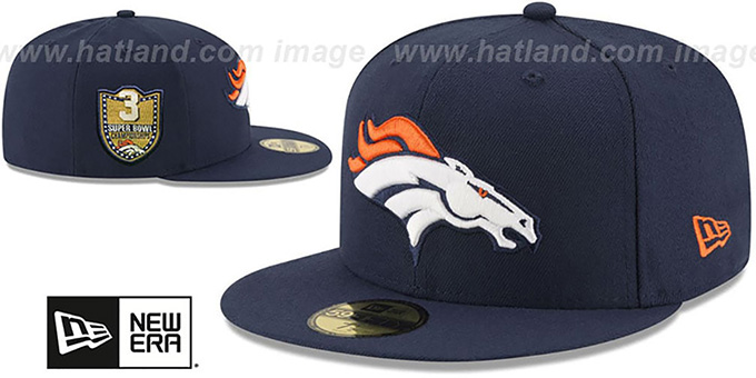 Broncos 'GOLDEN-HIT' Navy Fitted Hat by New Era : pictured without stickers that these products are shipped with