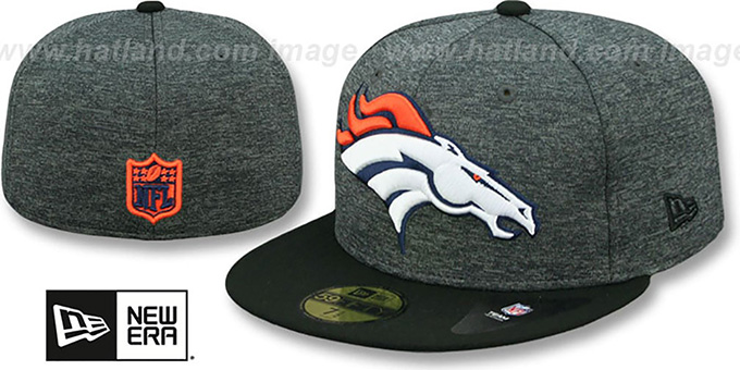 d99b4c399d4 Denver Broncos HEATHER-HUGE Grey-Black Fitted Hat by New Era