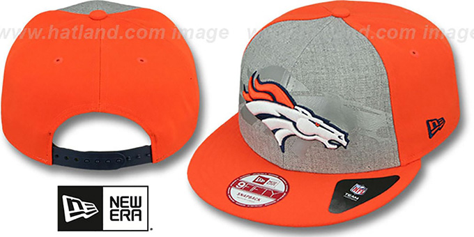 Broncos 'HEATHER-REFLECT SNAPBACK' Grey-Orange Hat by New Era : pictured without stickers that these products are shipped with