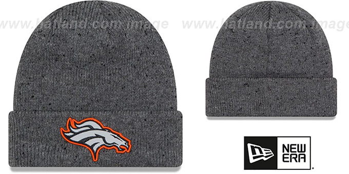 Broncos 'HEATHERED-SPEC' Grey Knit Beanie Hat by New Era : pictured without stickers that these products are shipped with
