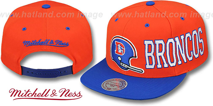 Broncos 'HELMET-WORDWRAP SNAPBACK' Orange-Royal Hat by Mitchell and Ness : pictured without stickers that these products are shipped with