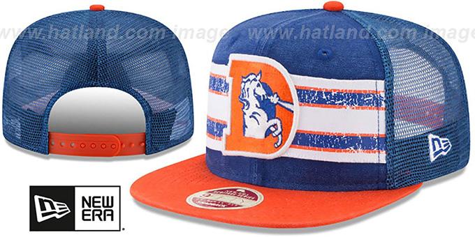 separation shoes 543dc e2381 Broncos  HERITAGE-STRIPE SNAPBACK  Royal-Orange Hat by New Era