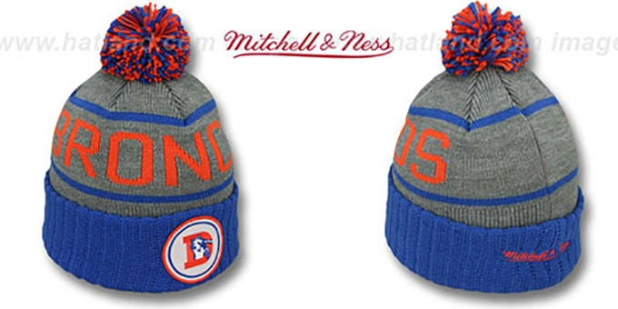 Broncos 'HIGH-5 CIRCLE BEANIE' Grey-Royal by Mitchell and Ness : pictured without stickers that these products are shipped with
