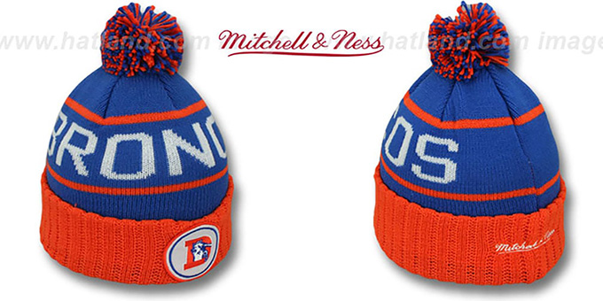 Broncos 'HIGH-5 CIRCLE BEANIE' Royal-Orange by Mitchell and Ness : pictured without stickers that these products are shipped with