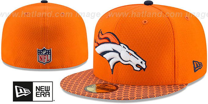 566b92e3e75813 Broncos HONEYCOMB STADIUM Orange Fitted Hat by New Era