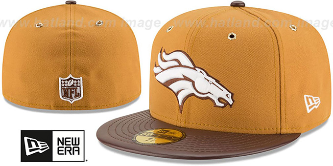 Broncos 'METAL HOOK' Wheat-Brown Fitted Hat by New Era : pictured without stickers that these products are shipped with