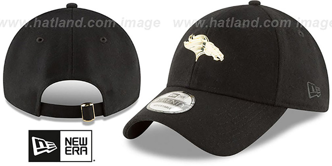 Broncos 'MINI GOLD METAL-BADGE STRAPBACK' Black Hat by New Era : pictured without stickers that these products are shipped with