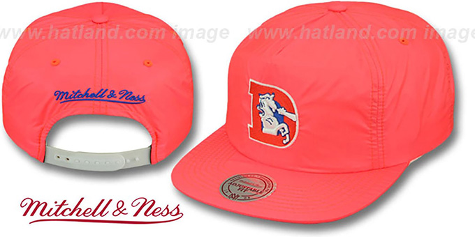 Broncos 'NEON SNAPBACK' Orange Hat by Mitchell & Ness : pictured without stickers that these products are shipped with