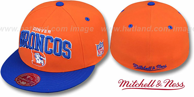 Broncos 'NFL 2T ARCH TEAM-LOGO' Orange-Royal Fitted Hat by Mitchell & Ness : pictured without stickers that these products are shipped with