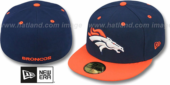 Broncos 'NFL 2T-TEAM-BASIC' Navy-Orange Fitted Hat by New Era : pictured without stickers that these products are shipped with