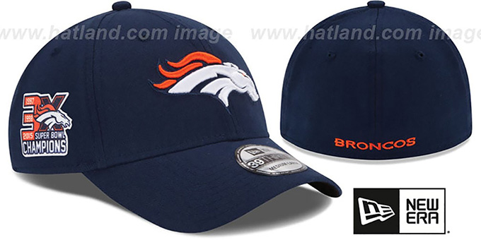 Broncos 'NFL 3X SUPER BOWL CHAMPS FLEX' Navy Hat by New Era : pictured without stickers that these products are shipped with
